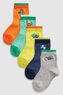 Next Dinosaur Embroidery Socks Five Pack (Younger)