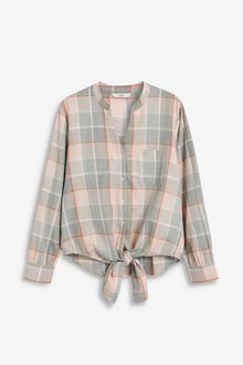 Next Check Knot Front Shirt- Petite