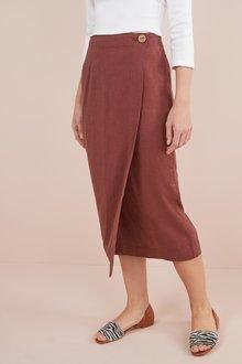 Next Linen Blend Midi Skirt- Tall