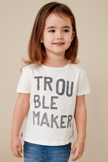 Next Trouble Maker Slogan T-Shirt (3mths-7yrs)
