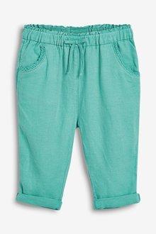 Next Linen Blend Crop Pull-On Trousers (3mths-7yrs)
