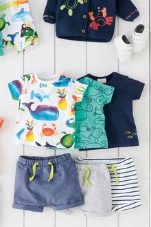 Next Sea Print T-Shirt Three Pack (0mths-2yrs)
