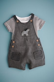 Next Jersey Denim Zebra Dungarees And Bodysuit Set (0mths-2yrs)