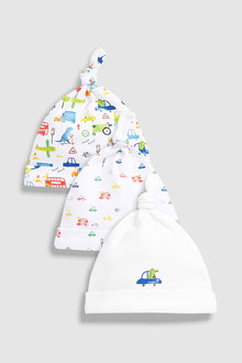 Next Car Print Tie Top Hats Three Pack (0-18mths)