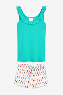 Next Cotton Rib Vest Short Set