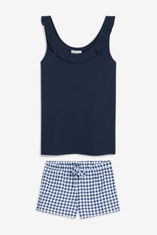 Next Cotton Rib Vest Short Set- Petite
