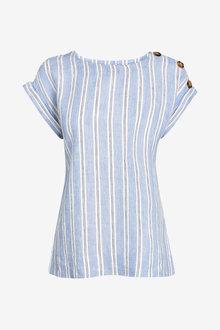 Next Linen Button T-Shirt