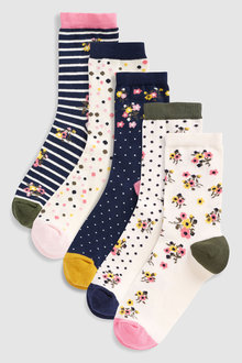 Next Floral Spot Socks Five Pack