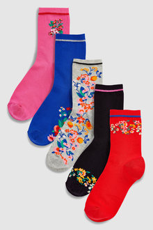 Next Floral Ankle Socks Five Pack