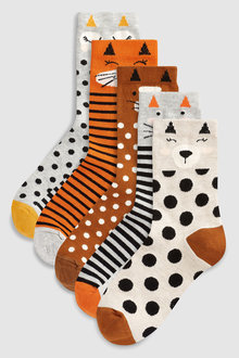 Next Cat Faces Socks Five Pack