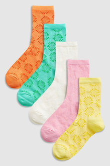 Next Flower Brights Ankle Socks Five Pack