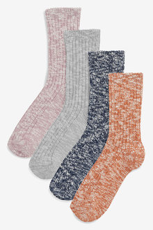 Next Rib Slub Socks Four Pack