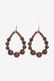Next Wood Beaded Statement Earrings