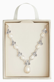 Next Jewel And Pearl Effect Short Necklace