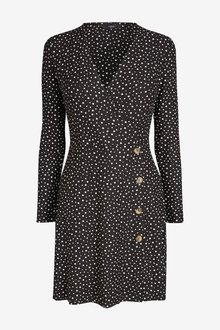 Next Long Sleeve Button Wrap Dress- Tall