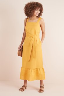 Next Linen Blend Ruffle Detail Dress- Tall - 232527