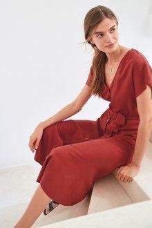 Next Linen Blend Button Detail Midi Dress- Tall