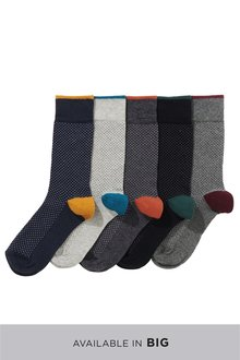 Next Pindot With Contrast Heel Socks Five Pack