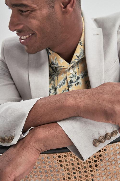 Next Linen Blend Skinny Fit Suit: Jacket -Skinny Fit