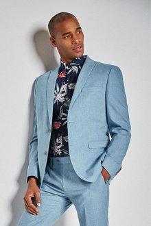 Next Linen Blend Skinny Fit Suit: Jacket -Slim Fit