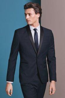 Next Skinny Fit Check Tuxedo Suit: Jacket