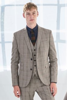 Next Skinny Fit Double Breasted Check Suit: Jacket
