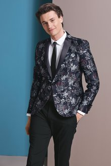 Next Skinny Fit Patterned Tuxedo Suit: Jacket