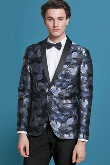 Next Slim Fit Patterned Tuxedo Suit: Jacket