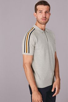 Next Overarm Zip Stripe Polo
