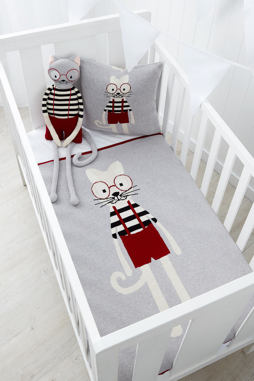 Charlie Cat Knitted Baby Blanket