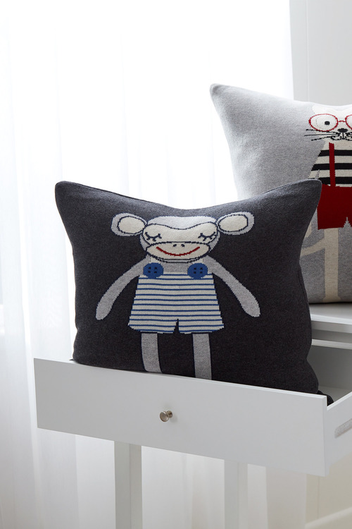 Marty Monkey Knitted Cushion