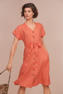 Next Button Through Linen Dress- Tall