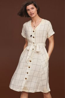 Next Button Through Linen Dress- Tall - 232672
