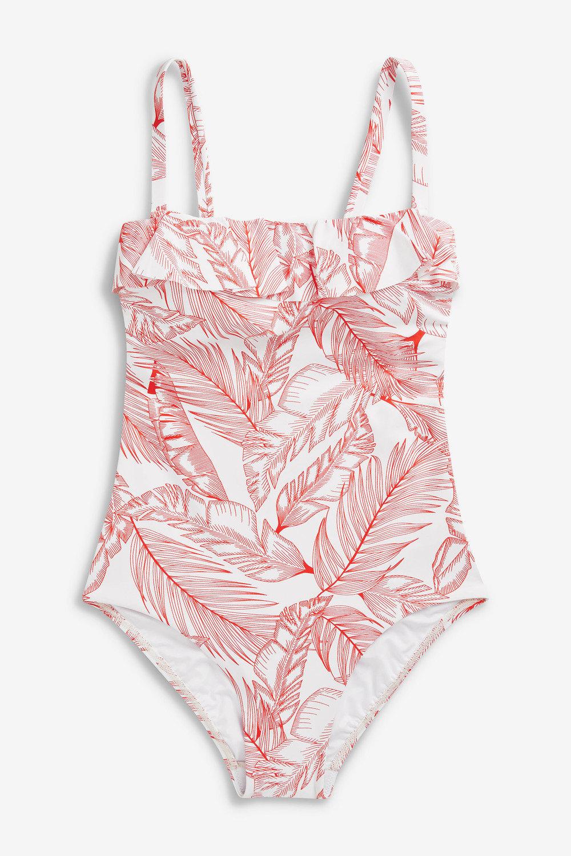 8979de2917 Next Ruffle Shape Enhancing Bandeau Swimsuit- Tall Online | Shop EziBuy