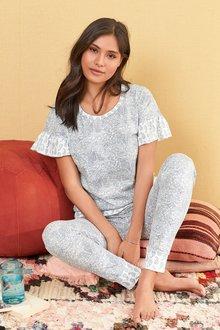 Next Ruffle Paisley Pyjamas- Tall