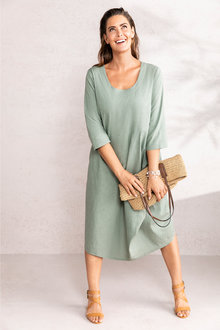 Plus Size - Sara Linen Drape Dress