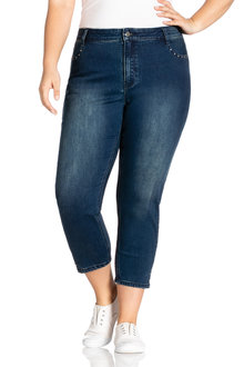 Plus Size - Sara Stud Detail Crop Jeans