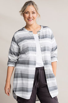 Plus Size - Sara Stripe Longline Shirt - 232798