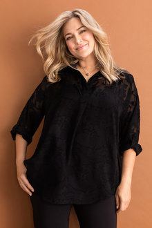 Plus Size - Sara Burnout Shirt - 232799