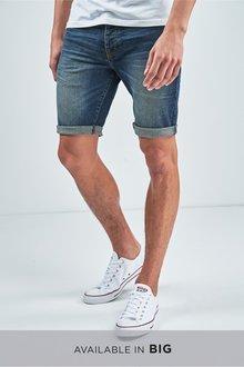Next Green Cast Denim Shorts -Skinny Fit