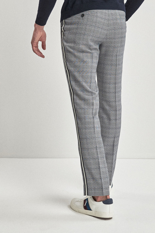 Next Check Side Stripe Skinny Fit Trousers
