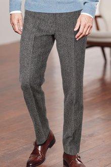 Next Signature Italian Fabric Herringbone Trousers -Tailored Fit