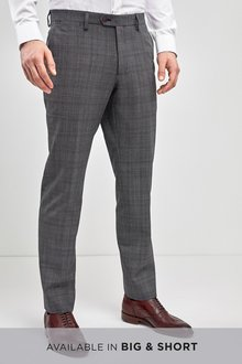 Next Check Wool Mix Tailored Fit Trousers - 232839