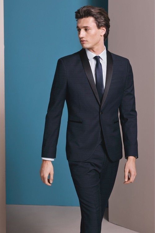 Next Skinny Fit Check Tuxedo Suit: Trousers