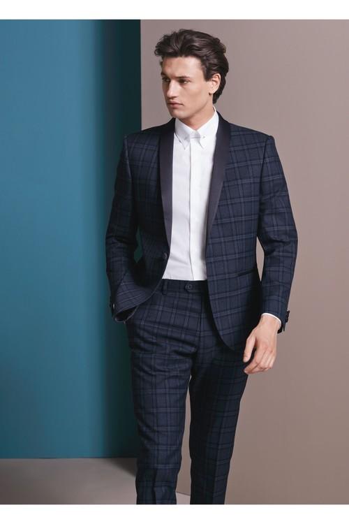 Next Slim Fit Check Tuxedo Suit: Trousers