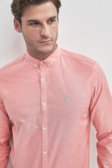 Next Long Sleeve Stretch Oxford Shirt -Slim Fit