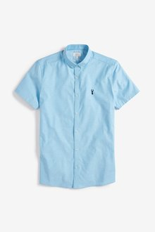 Next Short Sleeve Stretch Oxford Shirt -Slim Fit