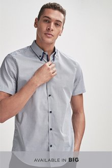 Next Geo Short Sleeve Double Collar Shirt