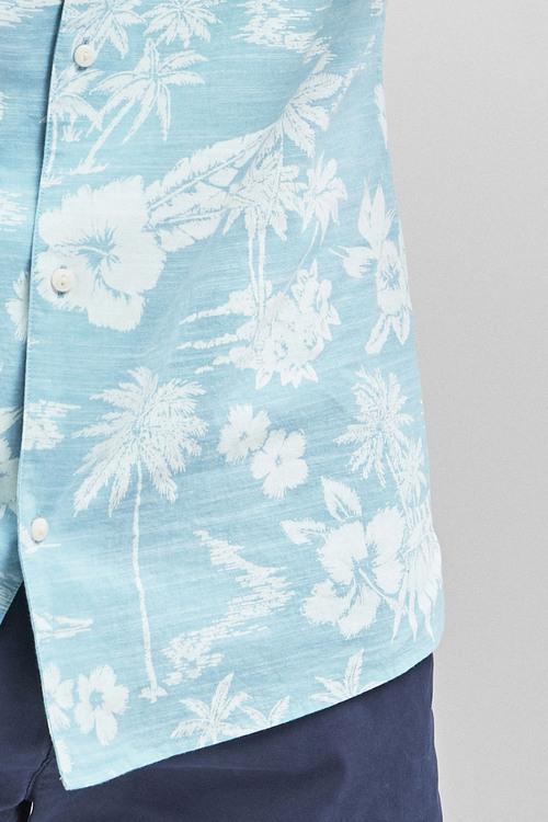 Next Short Sleeve Blue Hawaiian Leaf Print Shirt
