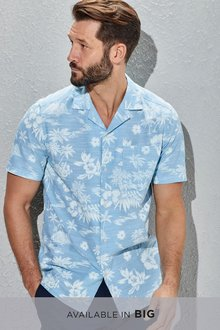 Next Short Sleeve Blue Hawaiian Leaf Print Shirt